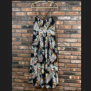 Banana Republic Leaf Print Cross Back Maxi Dress